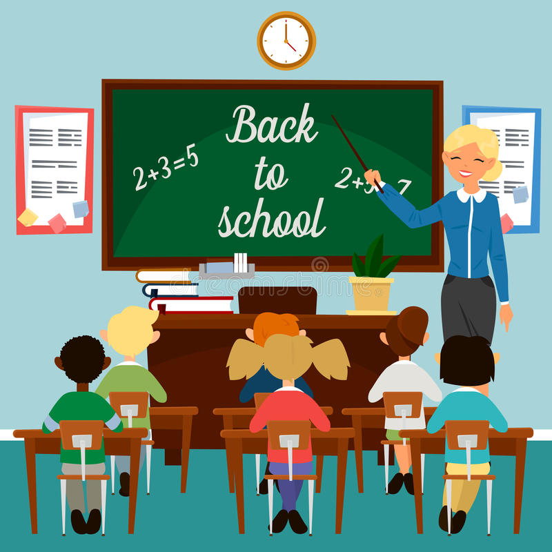 Back to School. Classroom with children. Teacher at the Blackboard royalty free illustration