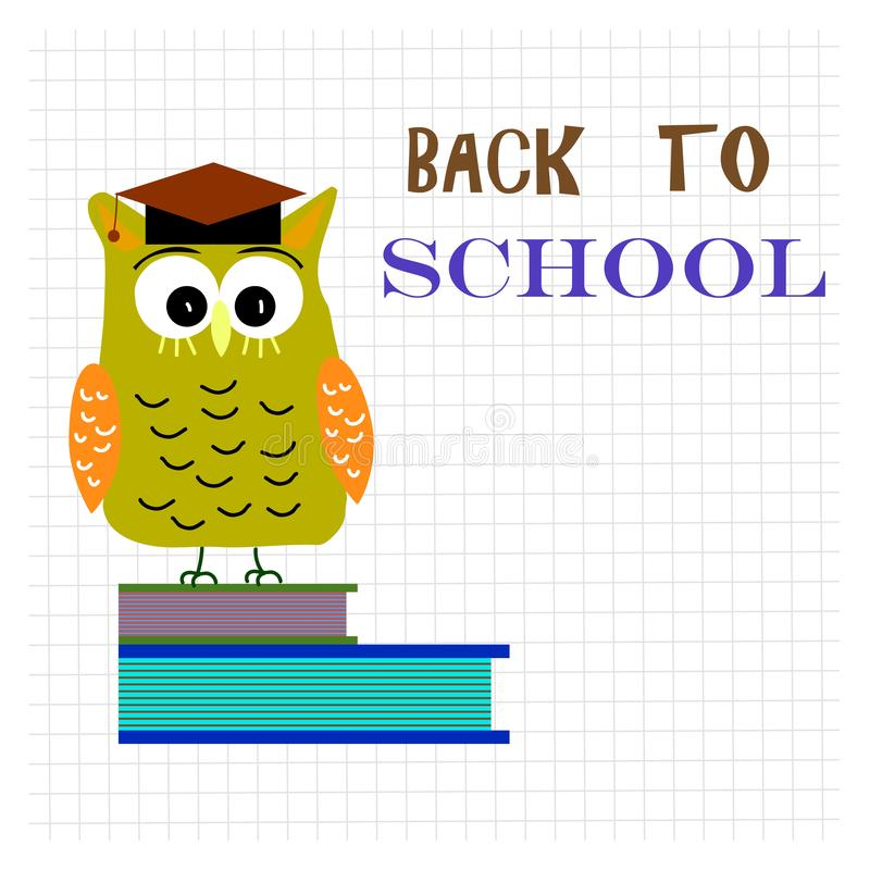 Back to school clip art with lettering text. Wise cute owl on bo royalty free illustration