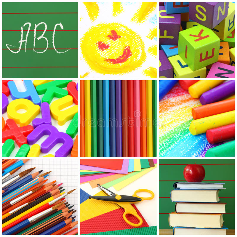 Back to school collage royalty free stock images