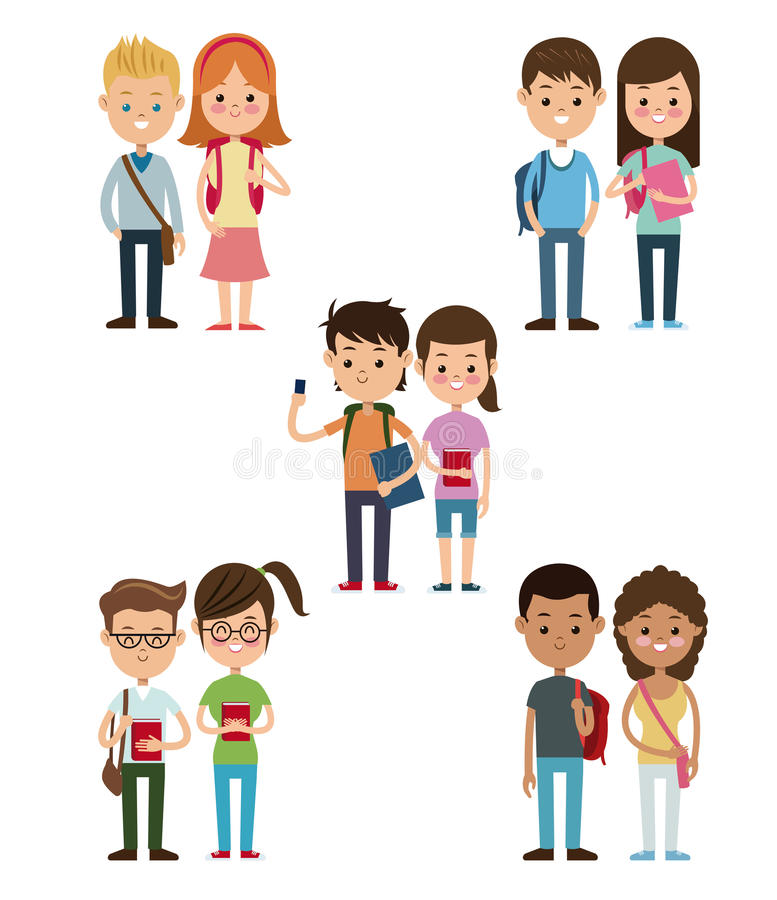 Back to school collection couples students design vector illustration