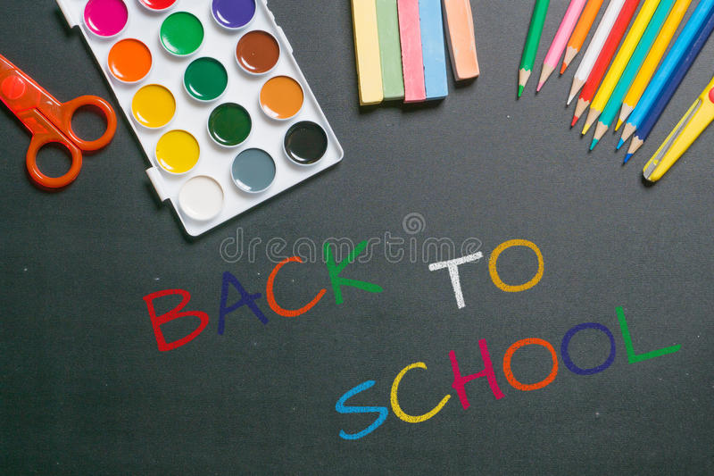 Back to school colorful chalk text royalty free stock photos
