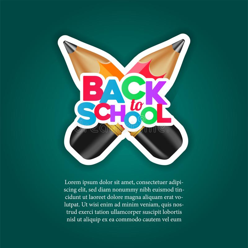 Back to school colorful with cross 3D red and yellow pencil sticker with green chalkboard royalty free illustration