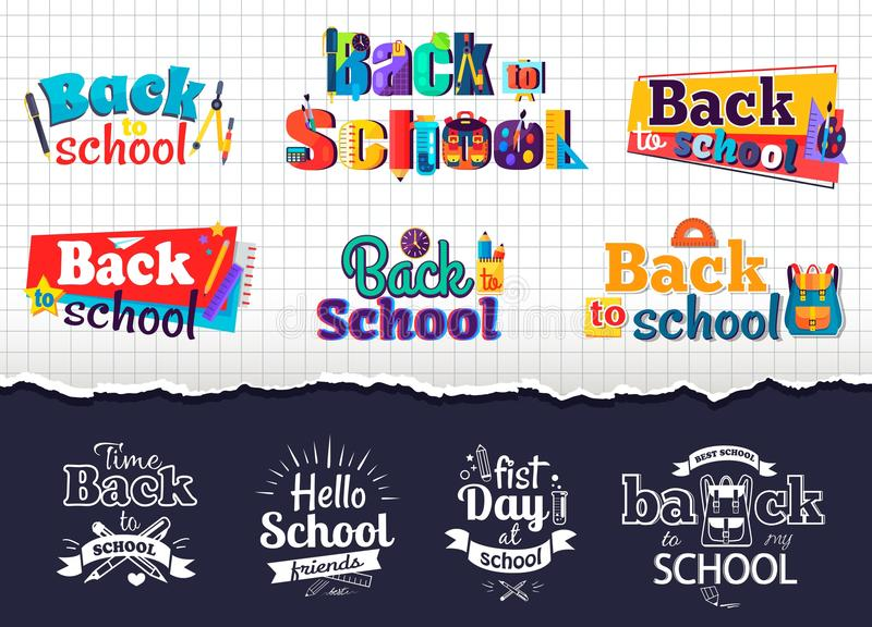 Back to School Colorful and Monochrome Stickers stock illustration