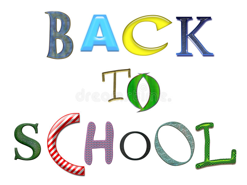 Back to School colorful text. Isolated royalty free illustration