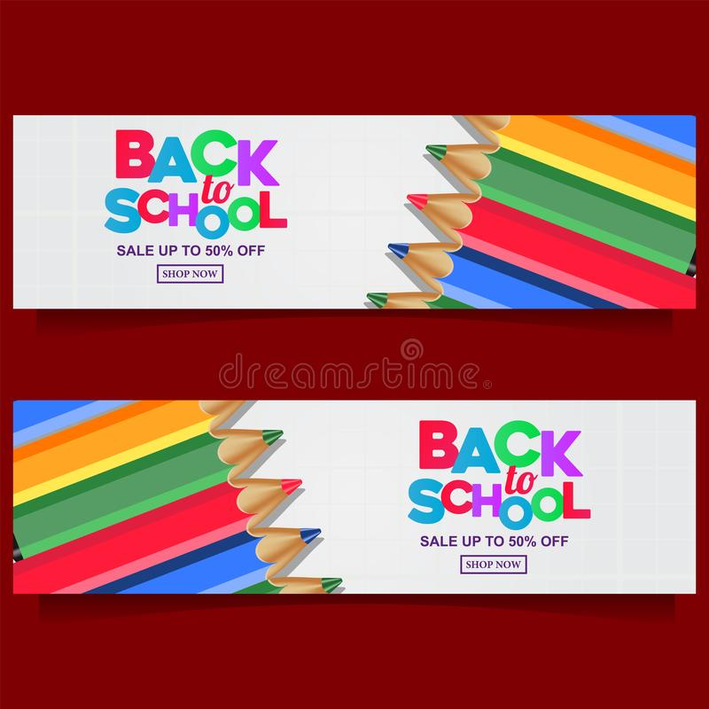 Back to school colorful text banner template with stationary with group pencil color. And white background for kids kindergarten stock illustration