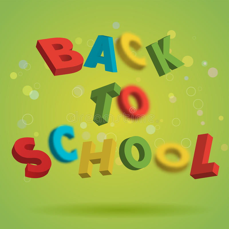 Back To School colorful text on a bright green background. Playful 3D Letter Design. Education concept. Flyer, poster vector illustration