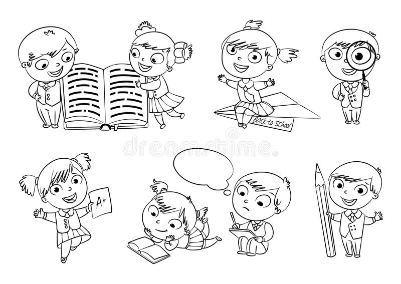 Back to school. Coloring book vector illustration