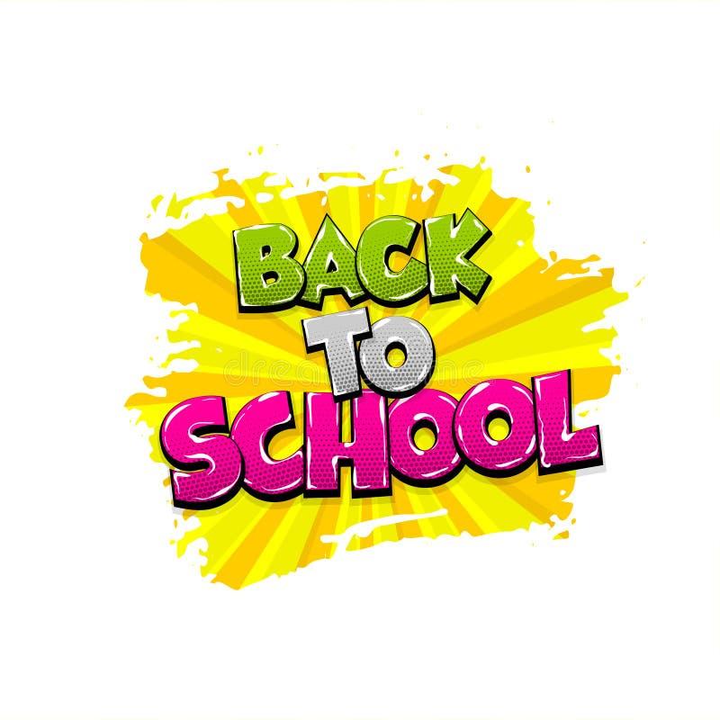 Back to school comic text pop art vector illustration