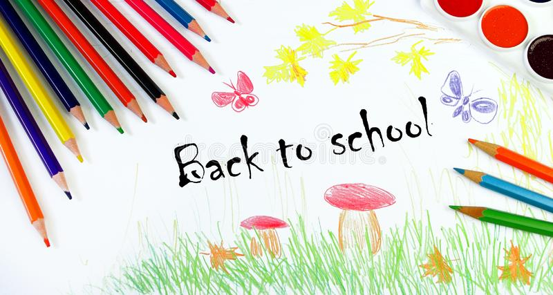 Back to school. Concept of the beginning of the school year. Children`s drawing of autumn. Draw the autumn. My own drawing design. stock image