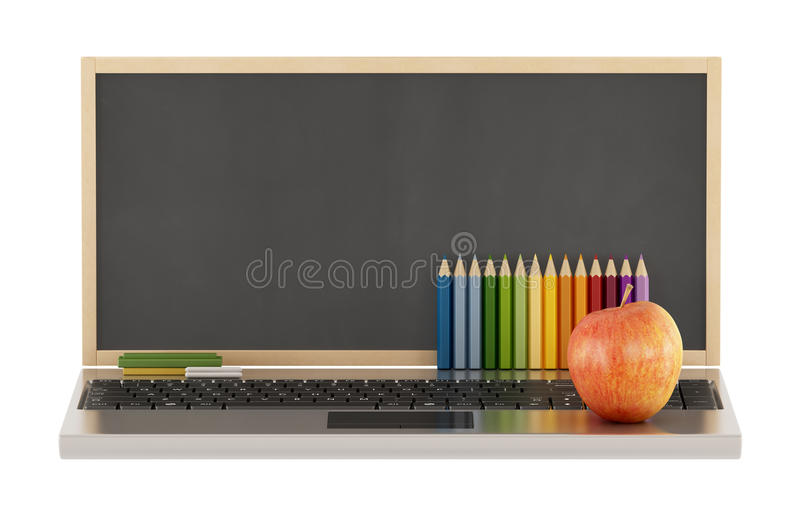 Back to school. Concept of school with blackboard,laptop,apple and pencil on white- 3D Rendering royalty free illustration