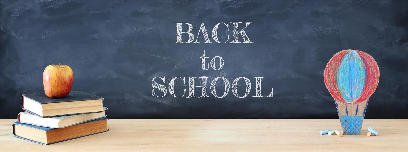 Back to school concept. cardboard handmade hot air balloon over classroom blackboard background. vector illustration