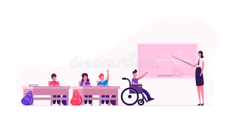 Back to School Concept with Children and Teacher. Young Woman and Disabled Boy in Wheelchair near Blackboard stock illustration