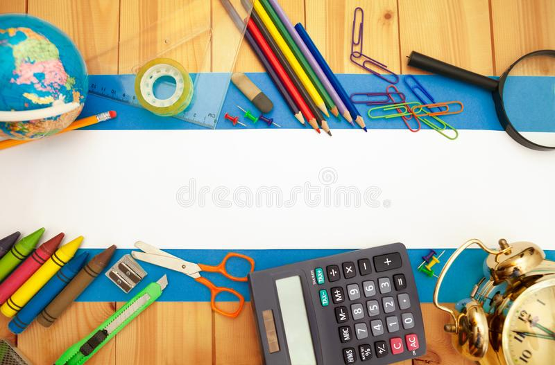 Back to school concept,different school supplies royalty free stock image