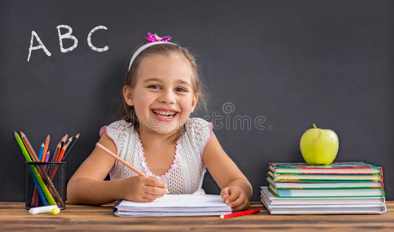 Back To School Concept, Happy Child Studying royalty free stock image