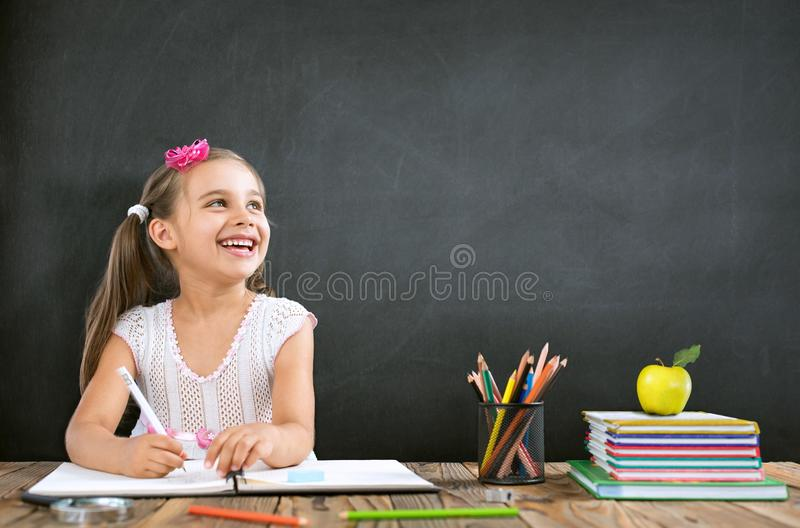 Back To School Concept, Happy Smiling Student Studying stock photography