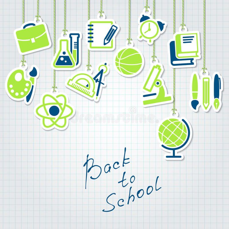 Back to school concept and icon set. Back to school concept and school icon set stock illustration