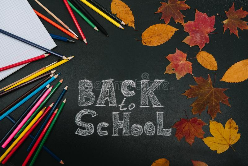Back to school concept. School and office supplies on blackboard background royalty free stock photos