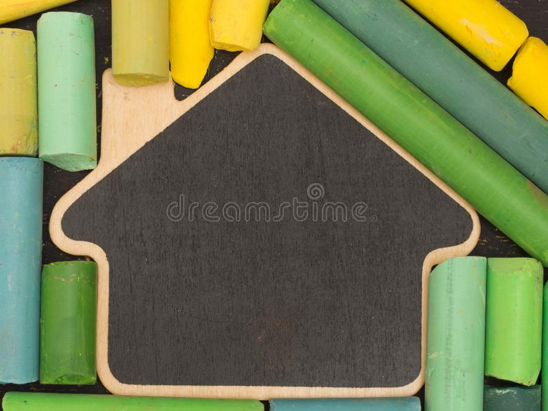 Back to School concept, with place for your text. With black board and colorful letters royalty free stock photo