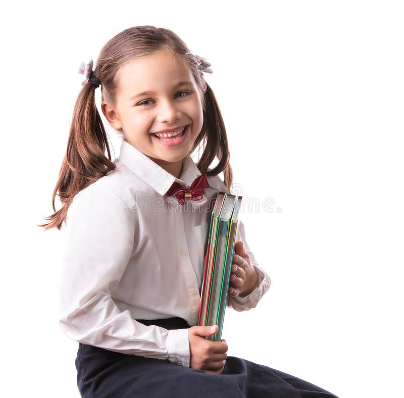 Back To School Concept, Portrait of Happy Smiling Child Student Isolated on White stock image