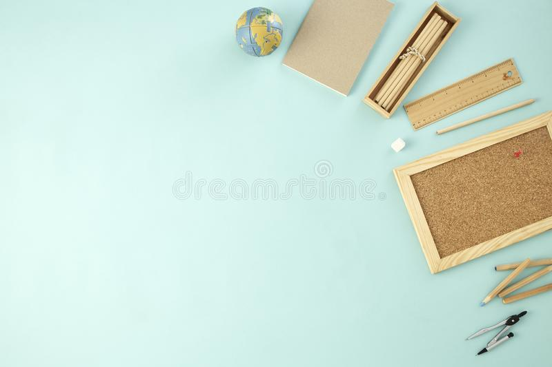 Back to school supplies concept blue background stock images