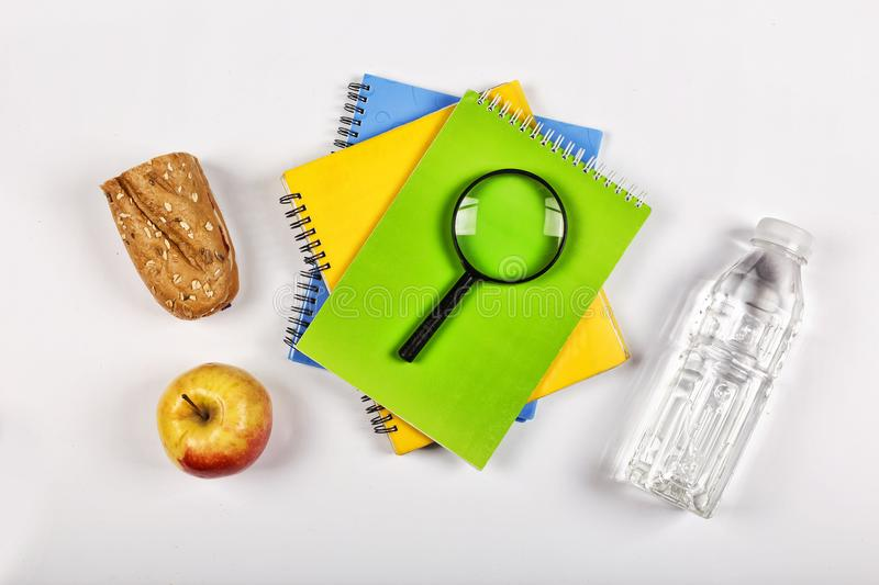Back to school concept. school snack. lunchbox, stationery, Free space for text. Copy space. royalty free stock photography