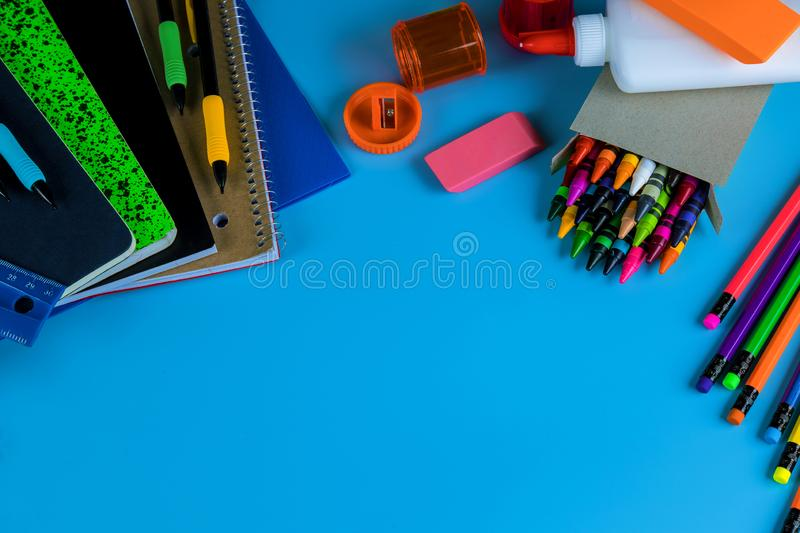 Back to school concept, student stuff for school royalty free stock photos