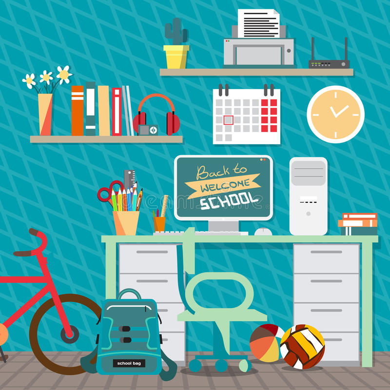Back to school concept. Teenagers workspace with desk, computer vector illustration