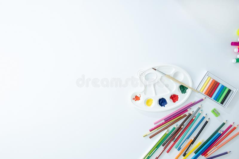 Back to school concept top School supplies Copy space stock images