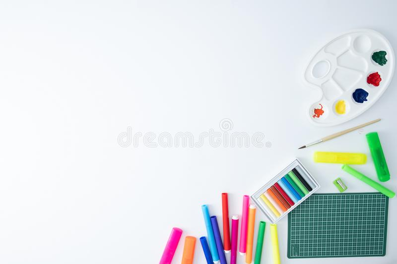Back to school concept top School supplies Copy space stock image