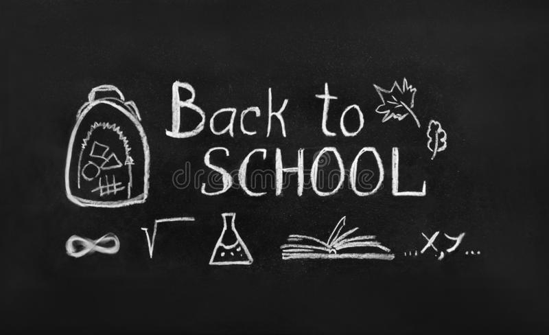 Back to school concept. Top view banner royalty free illustration