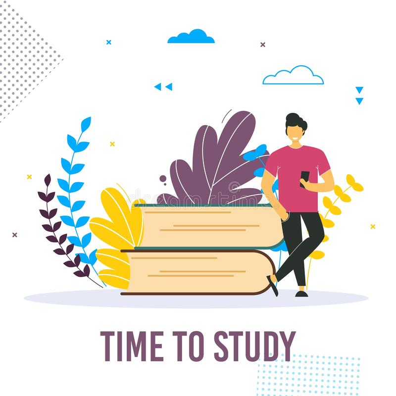 Back to school concept vector banner design with colorful funny school character. stock illustration