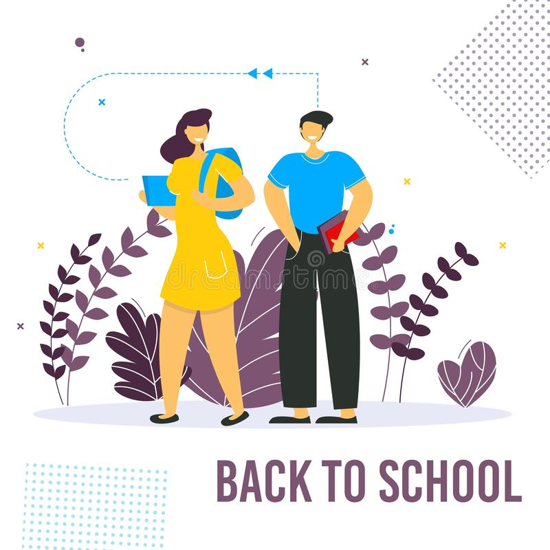 Back to school concept vector banner design with colorful funny school characters. vector illustration