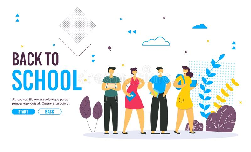 Back to school concept vector banner design with colorful funny school characters. royalty free illustration