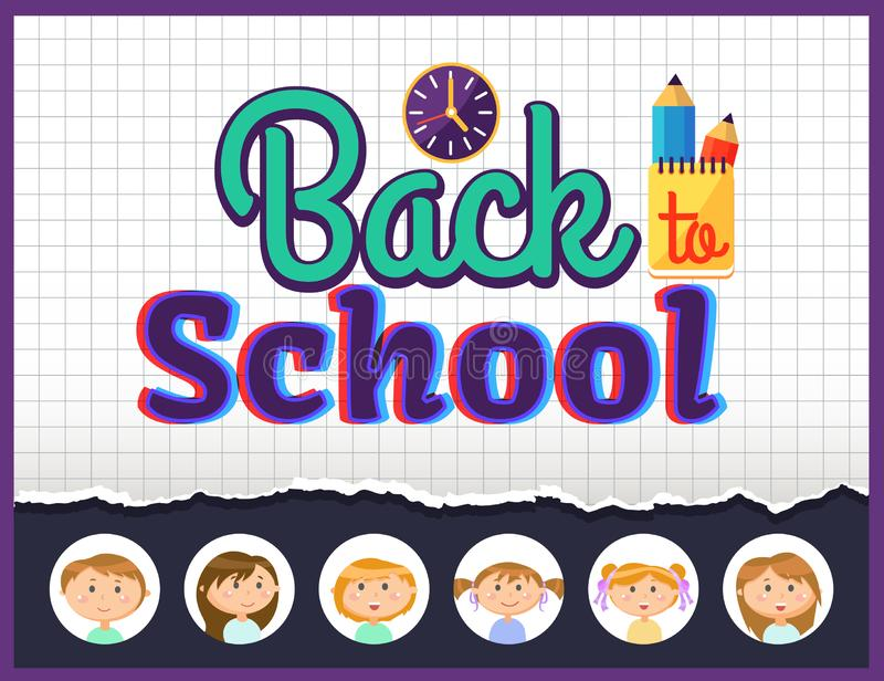 Back to School Cover, Office and Pupils Vector vector illustration