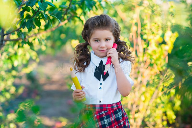 Back to school. A cute schoolgirl is holding pencils in her hands, smiling at the camera. Education. The concept of advertising an royalty free stock photos