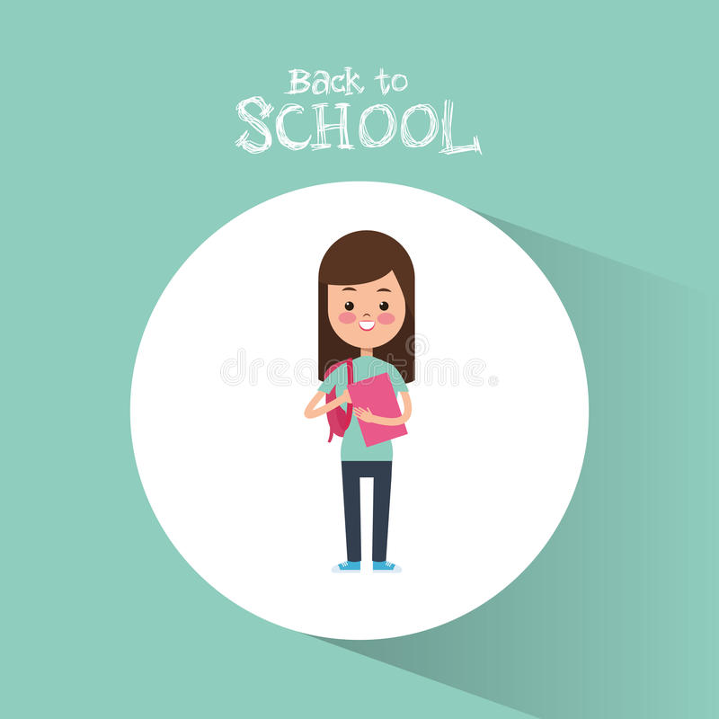 Back to school cute student girl book ready study royalty free illustration