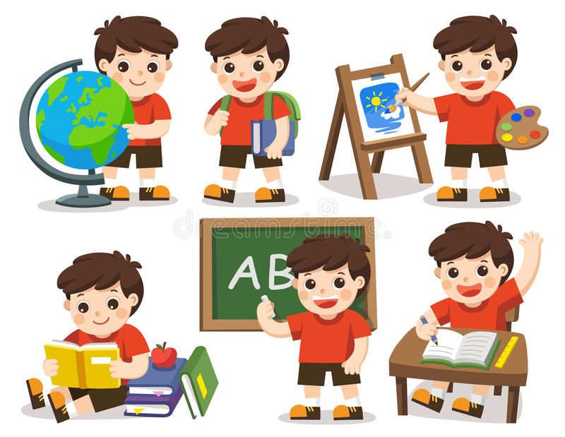Back to school. A cute student study in school. stock illustration