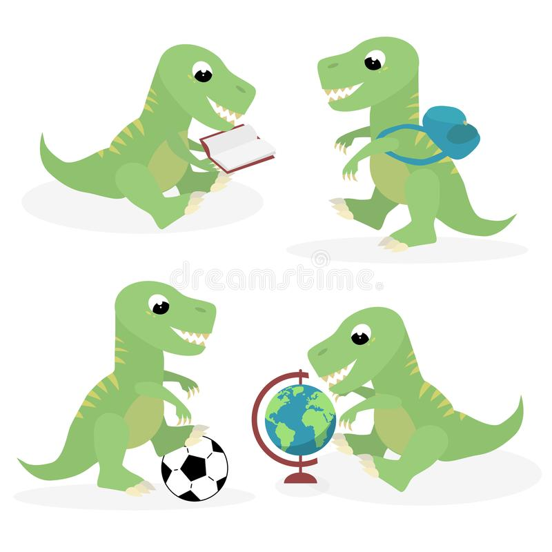 Back to the school cute student trex dinosaur vector illustration