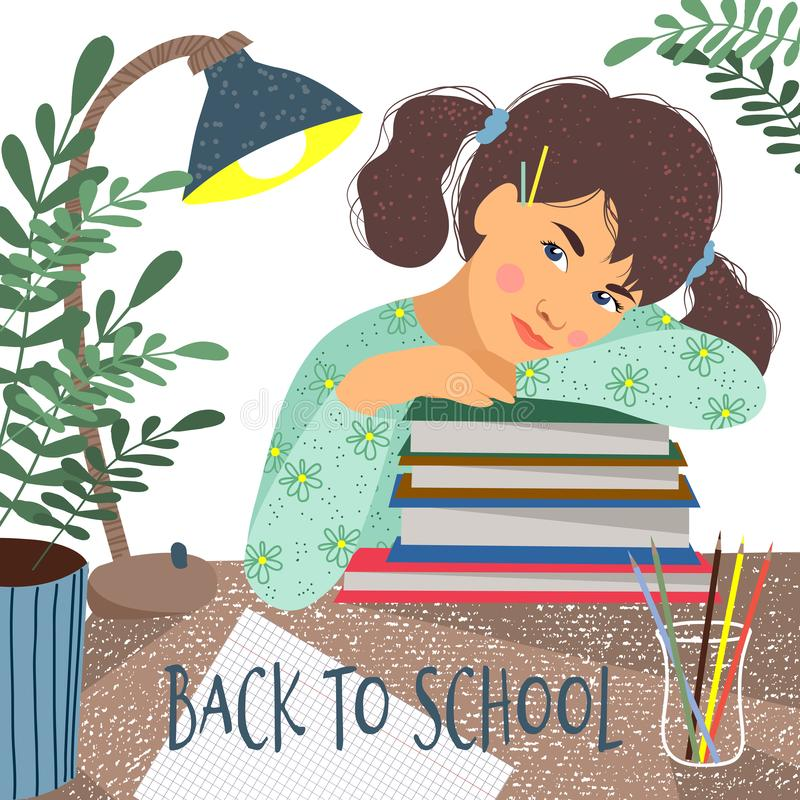 Back to school. Cute vector illustration of a sitting over the books student on a white background. Girl, books stock illustration