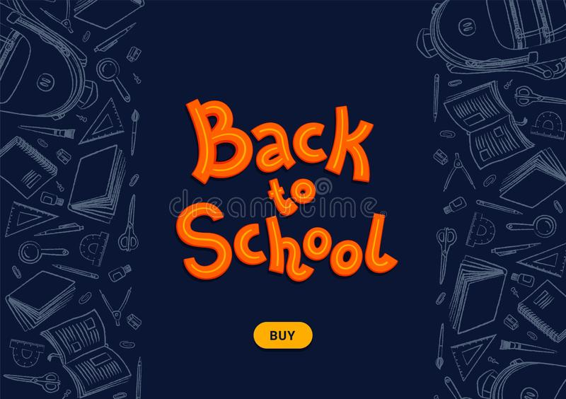 Back to school dark background. Back to school text and buy button on blackboard with chalk doodles. Vector illustration stock illustration