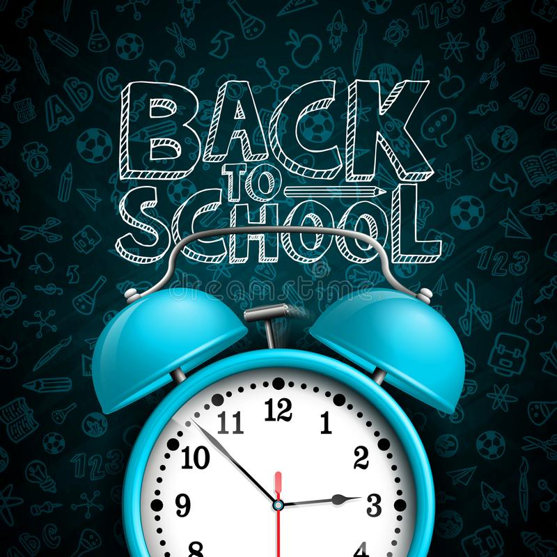 Back to school design with alarm clock and hand drawn doodles typography lettering on black chalkboard background vector illustration