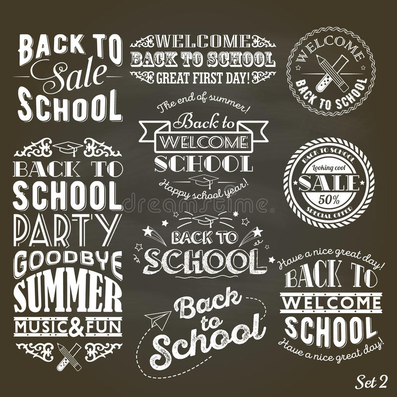 Back to School Design Collection. A set of vintage style Back to School sale and party on Black Chalkboard Background. A set of vintage style Back to School sale royalty free illustration