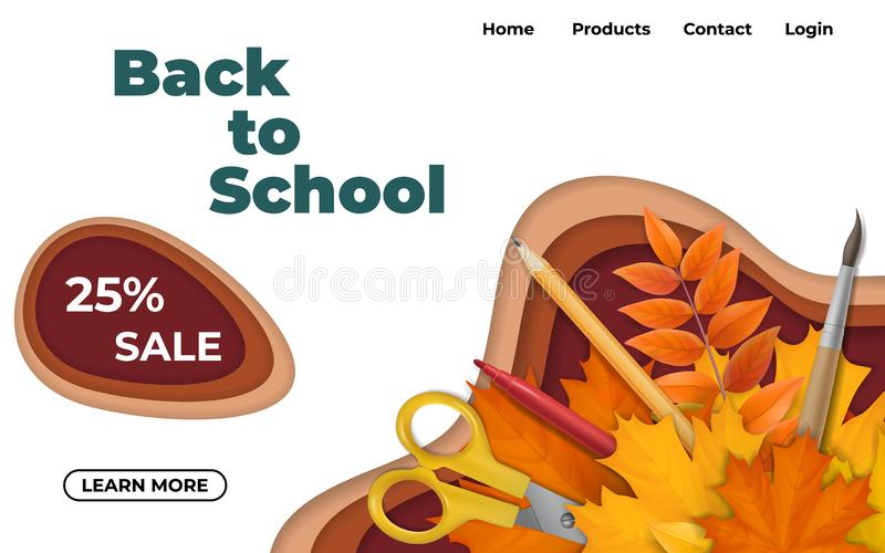 Back to school design with paper cut waves. royalty free stock images