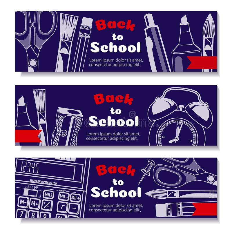 Back to school design in red background with school items and objects for store discount promotion. Sale Die cut Banners with Colorful School Elements vector illustration
