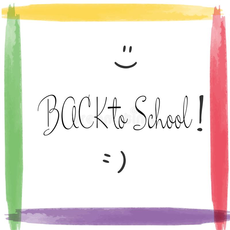Back to school design. Back to school design, text in colorful watercolor frame stock illustration