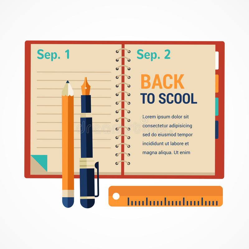 Free Back To School Diary Notebook Royalty Free Stock Images - 43130259