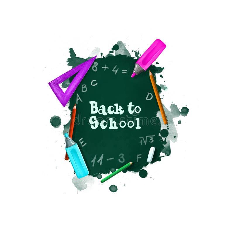 Back to school digital art illustration. Beginning of studying year event. Hand drawn blackboard, ruler, chalk, marker, pencil set. Isolated on white background vector illustration