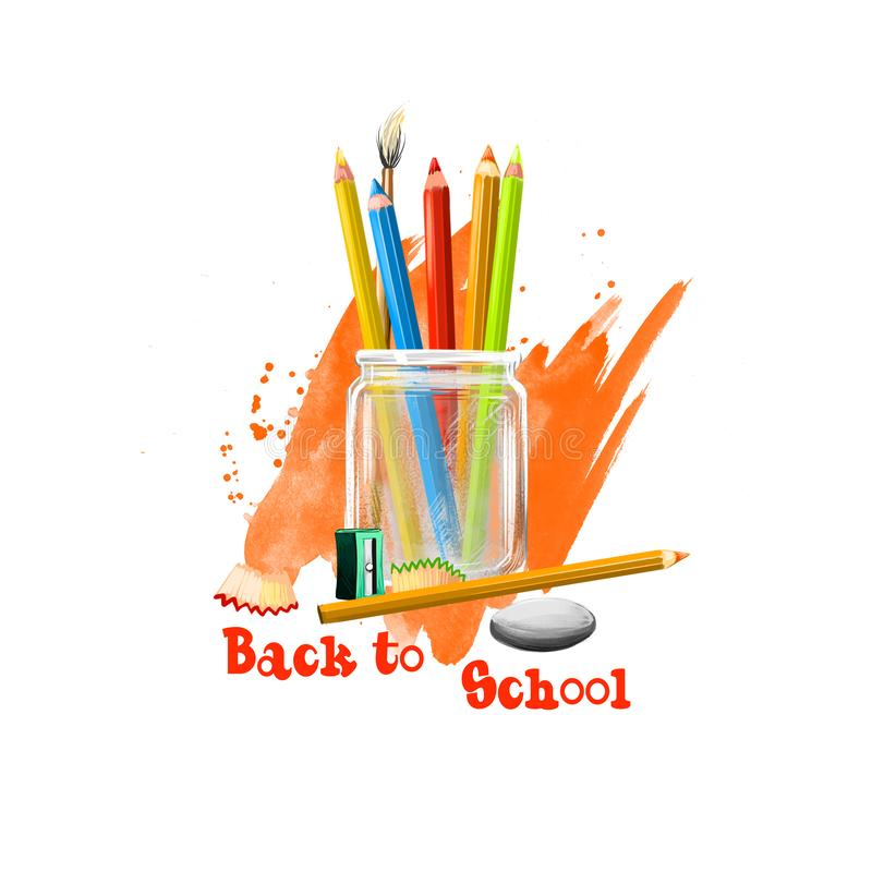 Back to school digital art illustration. Beginning of studying year event. Hand drawn colorful pencils in glass jar, rubber,. Sharpener set isolated on white royalty free illustration