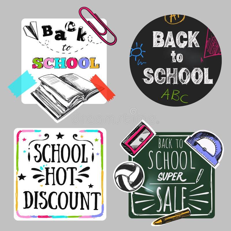 Back To School Doodle Label Set. Back to school label set in doodle style with back to school school hot discount descriptions vector illustration stock illustration