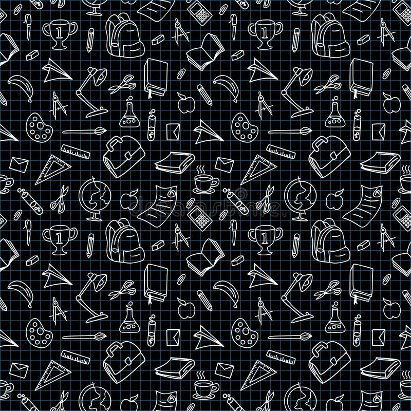 Back to school doodle line drawing vector illustration black and white color royalty free illustration